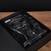 Gravírozott plakett évfordulóra üveg